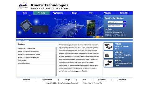 Screenshot of Products Page kinet-ic.com - Kinetic Technologies - captured Oct. 6, 2014