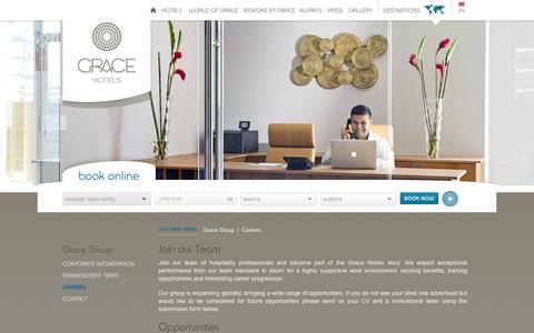 Screenshot of Jobs Page gracehotels.com - Hospitality Jobs – Career Opportunities | Grace Hotels - captured Dec. 13, 2015