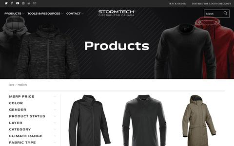 Screenshot of Products Page stormtech.ca - Products - Stormtech Distributor Canada - captured Sept. 23, 2018