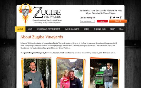 Screenshot of About Page zugibevineyards.com - About Zugibe Vineyards | Finger Lakes Winery - captured June 12, 2017