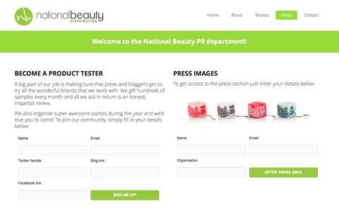 Screenshot of Press Page nationalbeauty.ie - National Beauty Distribution  –  Press - captured Oct. 27, 2014