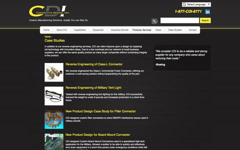 Screenshot of Case Studies Page connectivedesign.com - Case Studies | Reverse Engineering, Class-L Connector, Class-L Commercial Power Connector, Military Tent Lights, New Product Design, EMI/RFI Filter Connector, Custom Board Mount Connector - captured Sept. 25, 2018