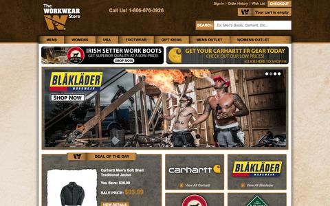 Screenshot of Home Page theworkwearstore.com - Carhartt Clothing Work Clothes and Workwear - captured Oct. 8, 2014