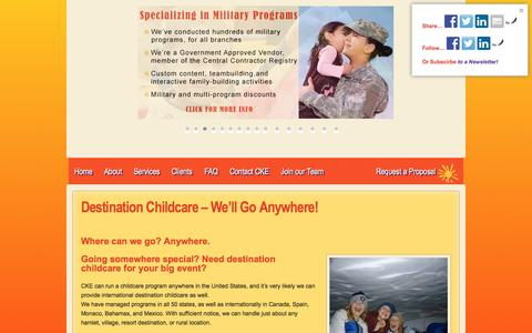Screenshot of Locations Page conferencechildcare.com - Destination Childcare - We'll Go Anywhere! - Corporate Kids Events - captured Oct. 3, 2014