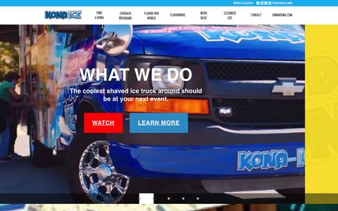 Screenshot of Home Page kona-ice.com - Shaved Ice Truck and Ice Cream Truck > Kona Ice - captured Jan. 31, 2016