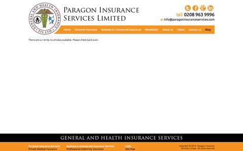Screenshot of Press Page paragoninsuranceservices.com - Blog - Business Insurance | Personal Insurance | Paragon Insurance Services - captured July 11, 2016