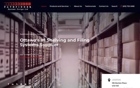 Screenshot of Home Page pathfindersystemsdesign.com - Pathfinder Systems Design Ltd – Ottawa's #1 Shelving and Filing Systems Supplier - captured Feb. 20, 2019