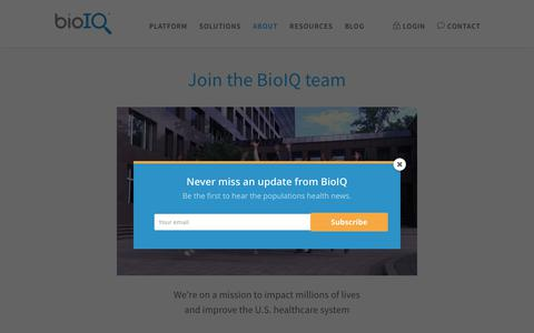 Screenshot of Jobs Page bioiq.com - Start your career at BioIQ. Come join us, it's fun here! - captured Oct. 31, 2017