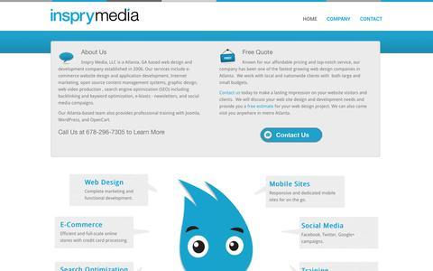 Screenshot of Home Page inspry.com - Atlanta Web Design | Joomla | OpenCart | WordPress | Inspry Media - captured Feb. 11, 2016
