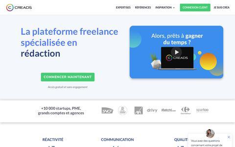 Screenshot of Home Page creads.fr - CREADS - La plateforme freelance spécialisée vidéo, graphisme, rédaction - captured Aug. 4, 2019