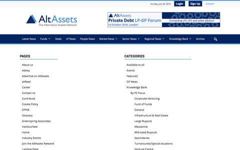 Screenshot of Site Map Page altassets.net - Sitemap   AltAssets Private Equity News - captured July 29, 2018