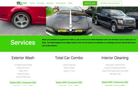 Screenshot of Services Page simplewaterless.com - Services-Our wash engineers clean a car wherever it's parked - captured Feb. 16, 2016