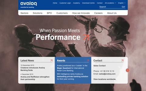 Screenshot of Home Page avaloq.com - Banking Software Solutions – Avaloq - captured Dec. 27, 2015