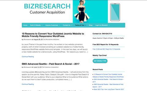 Screenshot of Blog bizresearch.com - Customer Acquisition Tactics & Tips - Bizresearch - captured Nov. 20, 2017