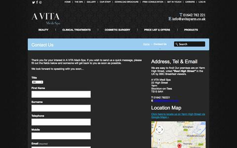 Screenshot of Contact Page avitayarm.co.uk - Contact Us Yarm, Contact Us  Middlesbrough, Contact Us Whitby | Avita Medi Spa - Yarm - captured Oct. 3, 2014