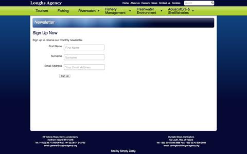 Screenshot of Signup Page loughs-agency.org - Newsletter - Loughs Agency - captured Sept. 26, 2014