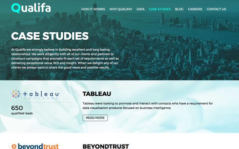Screenshot of Case Studies Page qualifa.co.uk - Case Studies –Qualifa –Lead Generation for B2B Technology - captured May 19, 2017