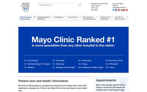 Screenshot of Home Page mayoclinic.org - Mayo Clinic - captured Oct. 17, 2015