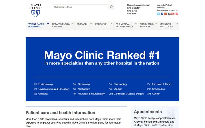A page on mayoclinic org in the collection