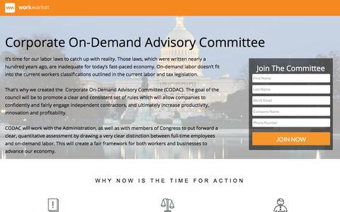 Screenshot of Landing Page workmarket.com - Corporate On-Demand Advisory Committee - captured June 30, 2017