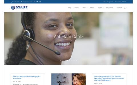 Screenshot of Home Page schurz.com - Home - Schurz Communications Inc. - captured Jan. 20, 2016