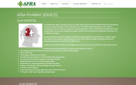 Screenshot of Services Page afrapharmaconsultant.org - Services - captured Sept. 30, 2014