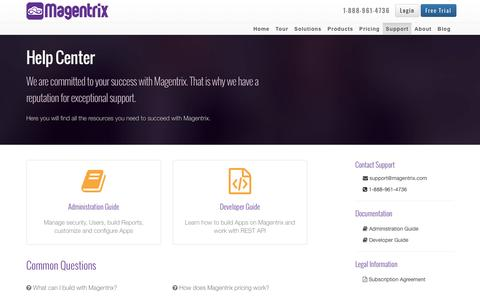 Screenshot of Support Page magentrix.com - Magentrix Support and Documentation   Magentrix - captured Jan. 15, 2016