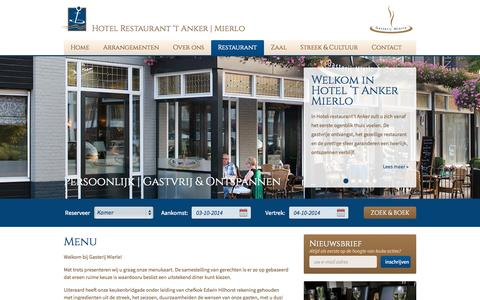 Screenshot of Menu Page hotel-het-anker.nl - Menu | Hotel Restaurant 't Anker - Mierlo - captured Oct. 3, 2014