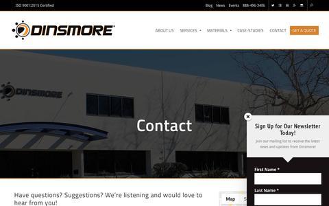 Screenshot of Contact Page dinsmoreinc.com - Contact | Dinsmore Inc. - captured Dec. 15, 2018