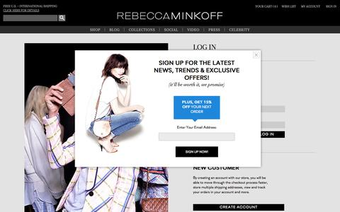 Screenshot of Login Page rebeccaminkoff.com - Customer Login | Rebecca Minkoff Online Store - captured Sept. 18, 2014