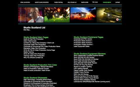 Screenshot of Site Map Page studioscotland.com - Welcome to Studio Scotland: Site Map - captured Oct. 9, 2014