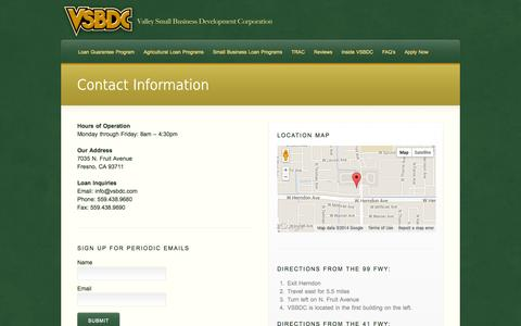 Screenshot of Contact Page Maps & Directions Page Hours Page vsbdc.com - Contact Information - captured Oct. 26, 2014