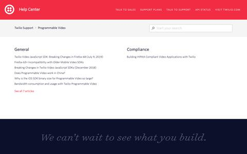 Screenshot of Support Page twilio.com - Programmable Video – Twilio Support - captured June 13, 2019