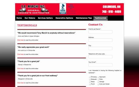 Screenshot of Testimonials Page apmarchiinc.com - Testimonials | A P Marchii Inc - captured Sept. 26, 2014