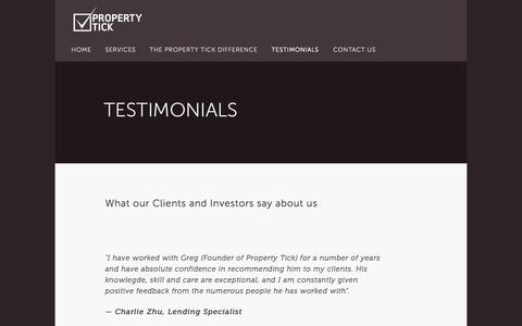 Screenshot of Testimonials Page propertytick.com - Testimonials — Property Tick - captured Sept. 30, 2014