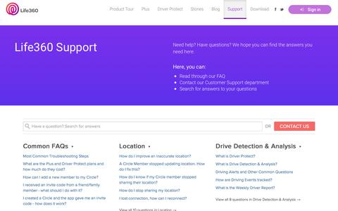 Screenshot of Support Page life360.com - Support - Life360 | Life360 - The New Family Circle - captured Aug. 26, 2018