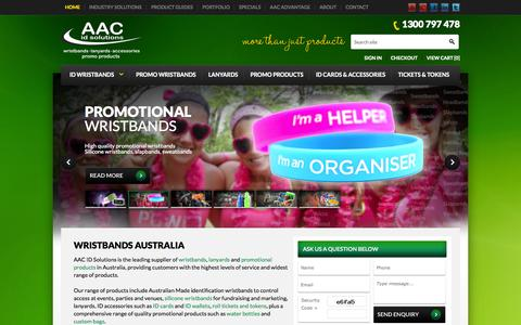 Screenshot of Home Page aacidsolutions.com.au - Wristbands Australia - No.1 Wristband Supplier | AAC ID Solutions - captured Sept. 30, 2014
