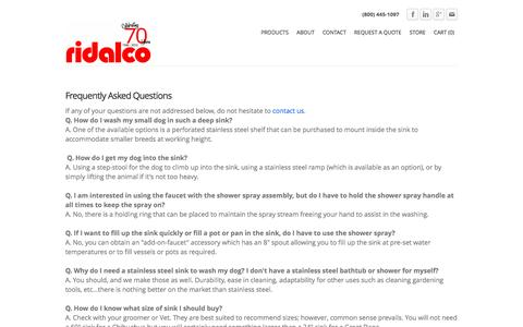 Screenshot of FAQ Page ridalco.com - RIDALCO | Dog Grooming Sinks FAQ - RIDALCO | Stainless Steel - captured Dec. 2, 2016