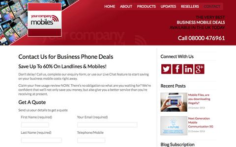 Screenshot of Contact Page yourcompanymobiles.com - Business Mobile Phone Deals, Contact Your Company Mobiles - captured Oct. 27, 2014