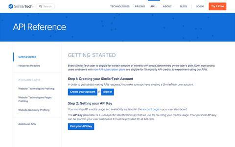 Screenshot of similartech.com - SimilarTech API Reference - API Docs - captured Oct. 10, 2017