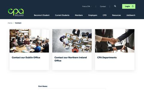 Screenshot of Contact Page cpaireland.ie - CPA Ireland - Contact | CPA Ireland - captured Nov. 15, 2018