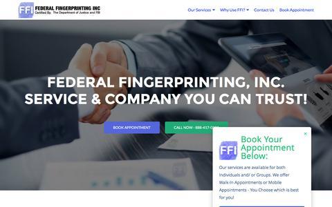 Screenshot of Home Page federalfingerprinting.com - Live Scan & Mobile Fingerprinting Services in Los Angeles CA | Federal Fingerprinting - captured Nov. 25, 2016
