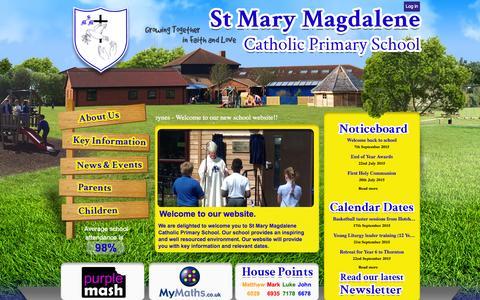 Screenshot of Home Page stmarymagdalenemk.co.uk - Home | St Mary Magdalene Catholic Primary School - captured Sept. 18, 2015