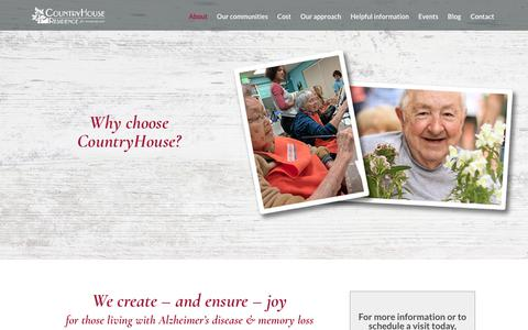 Screenshot of About Page countryhouse.net - Experience CountryHouse | CountryHouse Residence For Memory Care - captured Dec. 27, 2017