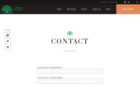 Screenshot of Contact Page coastalconservationleague.org - Contact - Coastal Conservation League - captured June 30, 2019