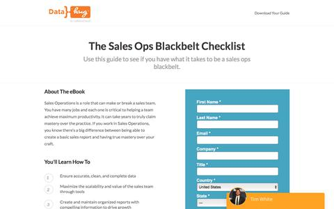 Screenshot of Landing Page datahug.com - The Sales Ops Blackbelt Checklist | Datahug - captured Nov. 12, 2019