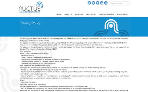 Screenshot of Privacy Page auctusmg.co.uk - Privacy Policy | Auctus Management Group - captured Oct. 4, 2018