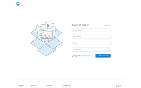 Screenshot of Signup Page dropbox.com - Dropbox - Sign in - captured July 18, 2014
