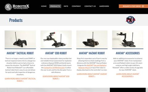 Screenshot of Products Page robotex.com - Tactical Robot Products | RoboteX | Robot Technology Solutions - captured June 9, 2019