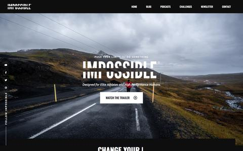 Screenshot of Home Page impossiblehq.com - IMPOSSIBLE ® | Push Your Limits - captured Jan. 6, 2020
